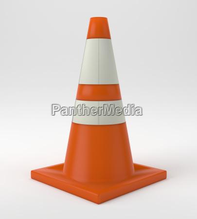 traffic cone construction orange warning 3d