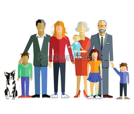 familiengeneration beisammen illustration