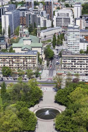 poland warsaw cityscape with swietokrzyski park