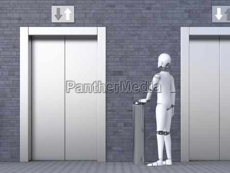 robot standing in front of elevator