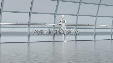 robot standing in hall using digital