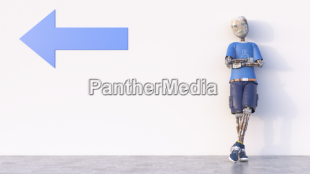 robot leaning against a wall with