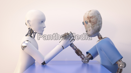 two robots arm wrestling 3d rendering