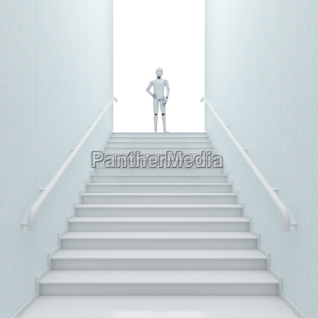 robot standing on top of stairs