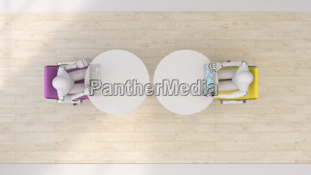 two robots using futuristic tablets 3d