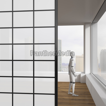 robot looking out of window 3d