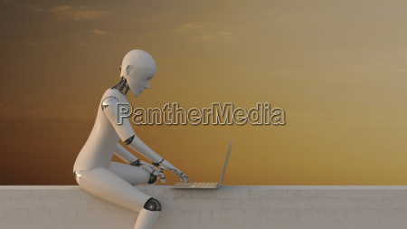 robot sitting on wall using laptop