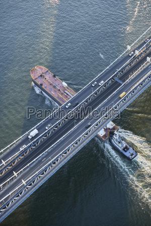 usa new york city barge sailing
