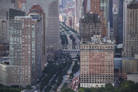 usa new york city traffic aerial