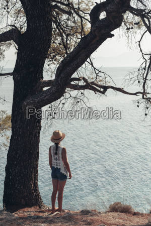 greece chalkidiki young woman looking at