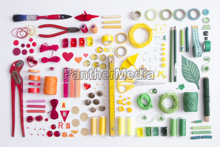 tools craft and painting materials on