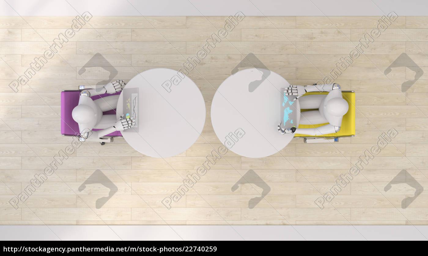 zwei, roboter, die, futuristische, tabletten, wiedergabe, 3d, verwenden - 22740259