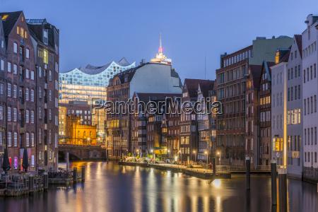 germany hamburg nikolaifleet elbphilharmonie in background