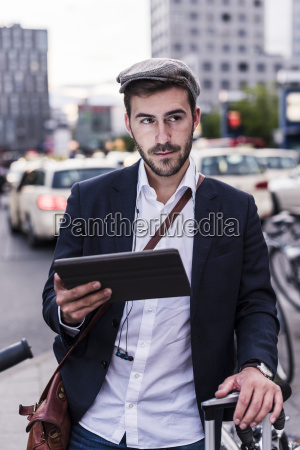 young man in the city with