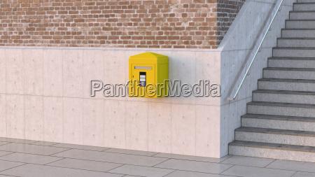 letter box on concrete wall 3d