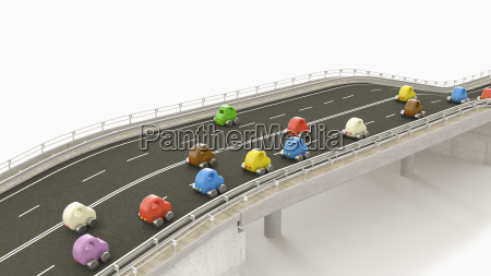 toy cars on motorway 3d rendering