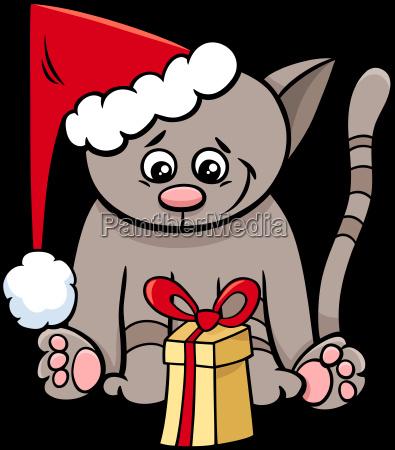 cat with xmas present cartoon