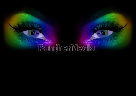 rainbow woman eyes background