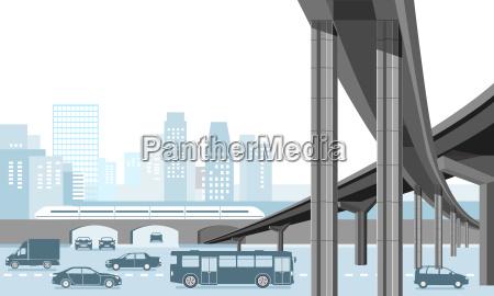 staedtische gemeinde mit personentransport und strassenverkehr