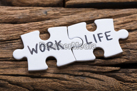 work and life words written on