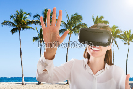 young woman using the virtual reality