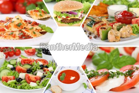 sammlung collage essen gerichte restaurant karte