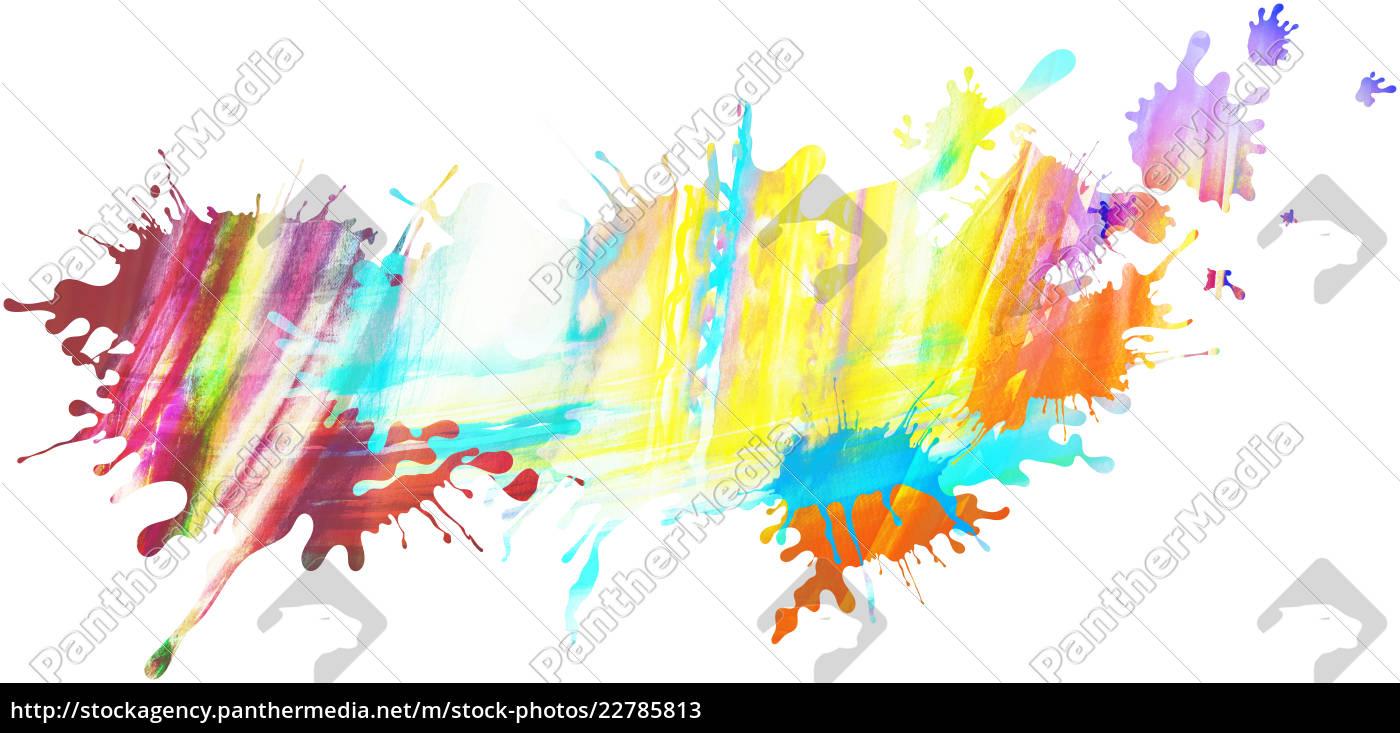 Kleckse Farben Regenbogen Freigestellt Muster Stockfoto