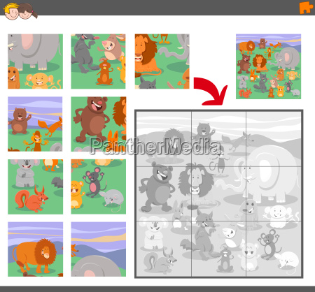 jigsaw puzzle game with animal characters