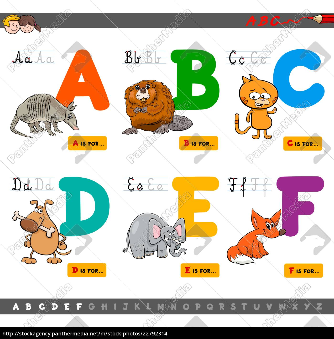 bildungs-cartoon, alphabet, buchstaben, zum, lernen - 22792314