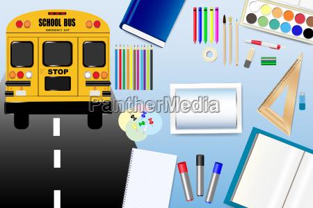 school bus and school equipment