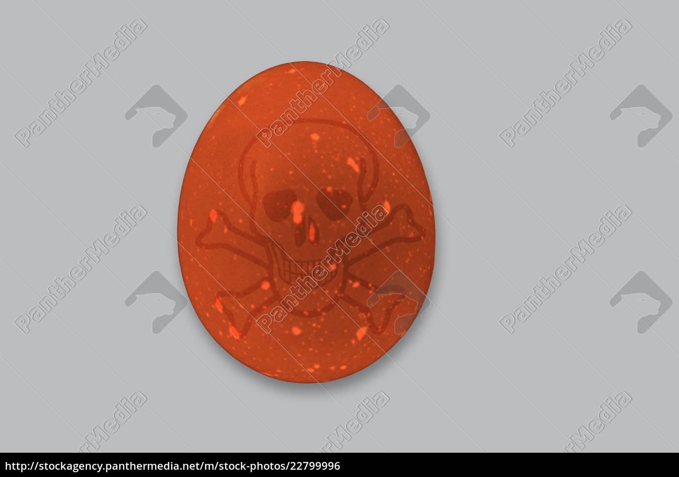 braunes, hühnerei, mit, totenkopf, zum, eierskandal - 22799996