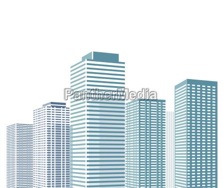 paesaggio urbano con lillustrazione di grattacieli