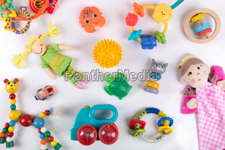 variety of colorful baby toys on