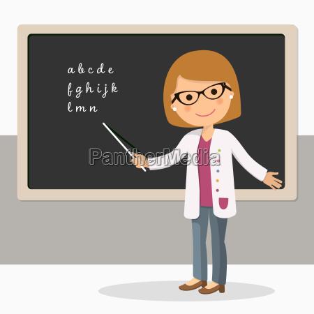 junge weibliche lehrer auf alphabet lektion