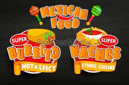 set od traditional mexican food emblems