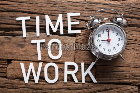 time to work text by alarm