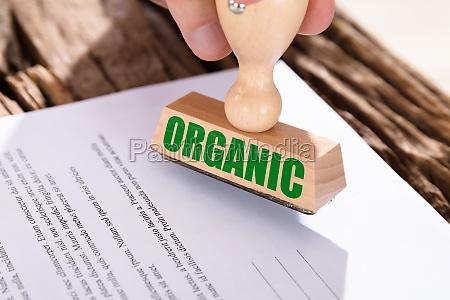 close up of a organic stamp