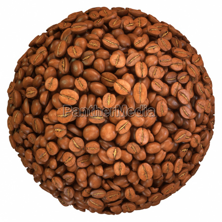roasted coffee beans sphere