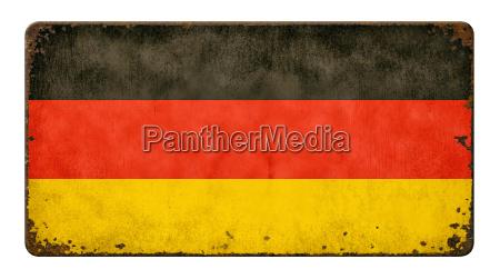 altes verrostetes blechschild flagge deutschland