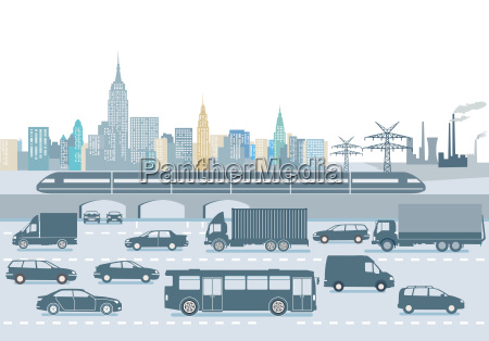 large city with transport of people