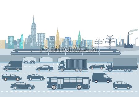grosse stadt mit personentransport und strassenverkehr