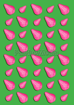 colorful pattern of strawberry halves on