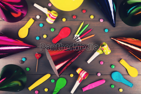 birthday party items and accessories on