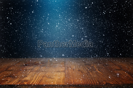 background with snowflakes and old wooden