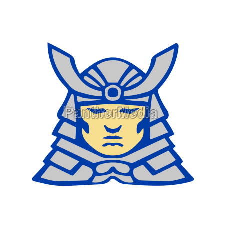 bushido samurai head armor helmet retro