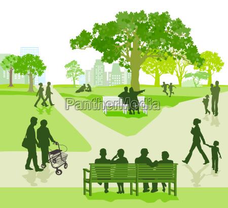 generation beisammen im park illustration