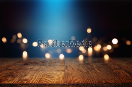 bokeh background with blue light beam