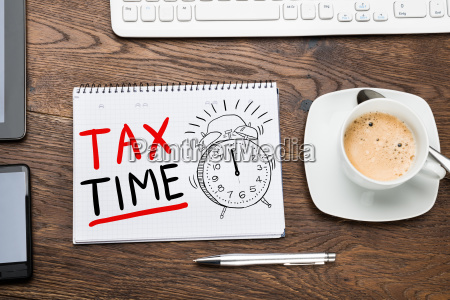 tax time concept in notepad