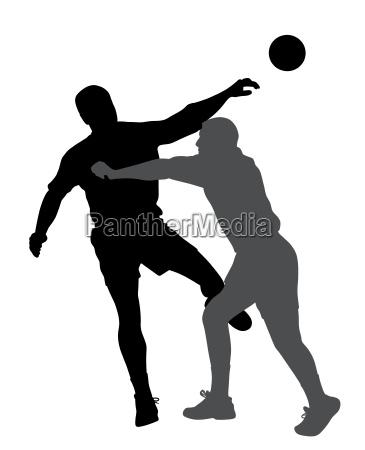 handball player blocking opponent player