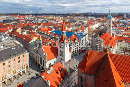 aerial view of old town munich